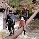 Carol Masheter making a seated crossing of a log bridge